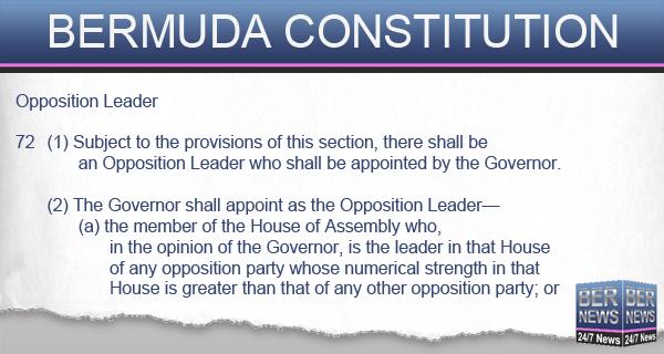 BERMUDA CONSTITUTION 1 opp leader