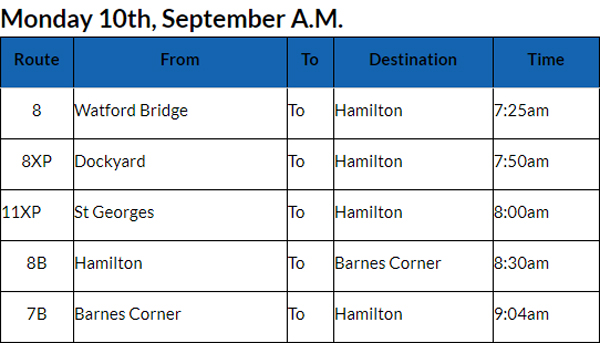 Bus Cancellations AM Bermuda Sept 10 2018