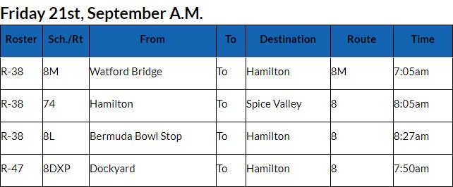 Bus Cancellations AM Bermuda Sept 21 2018