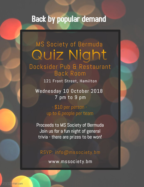 MS Society of Bermuda Quiz Night Sept 2018