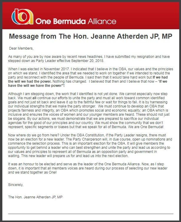 Message from Jeanne AtherdeN Resign Sept 21 2018