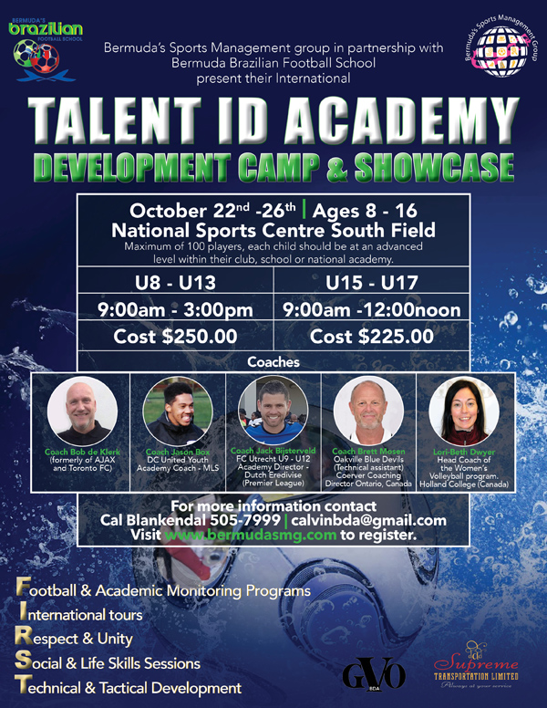 Talent ID Academy Camp & Showcase Bermuda Sept 2018