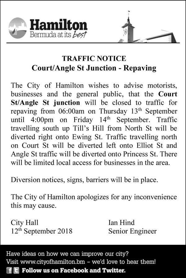 Traffic Notice Bermuda September 2018