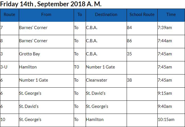 bus cancellations AM Bermuda Sept 14 2018