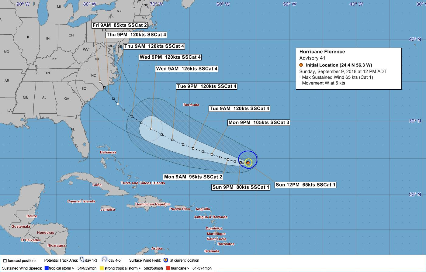 Hurricane Florence strengthens to Category 2 storm