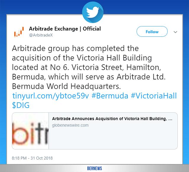 Arbitrade tweet Bermuda Oct 31 2018