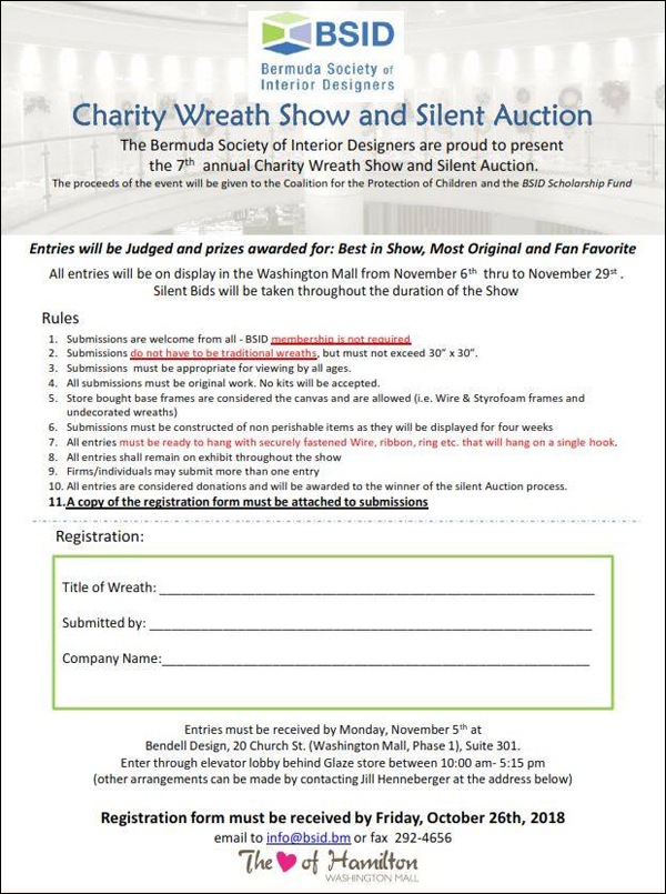 BSID Charity Wreath Show & Silent Auction registration form