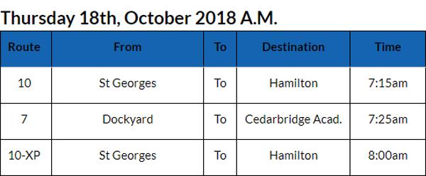 Bus Cancellations Bermuda Oct 18 2018 AM