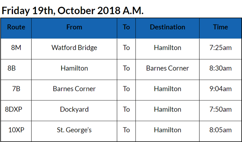 Bus Cancellations Bermuda Oct 19 2018 AM