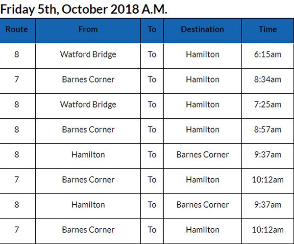 Bus cancellations Bermuda Oct 5 2018 AM