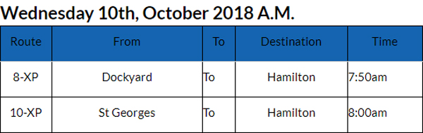Bus cancellations October 10 2018 AM