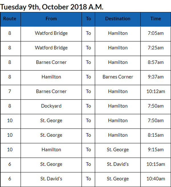 Bus cancellations October 9 2018 AM