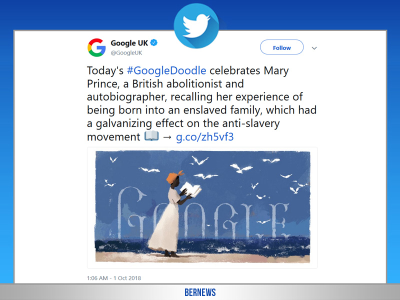 GoogleDoodle celebrates Mary Prince tweet