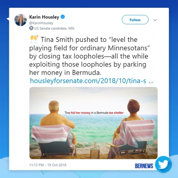 Karin Housley tweet Bermuda Oct 19 2018