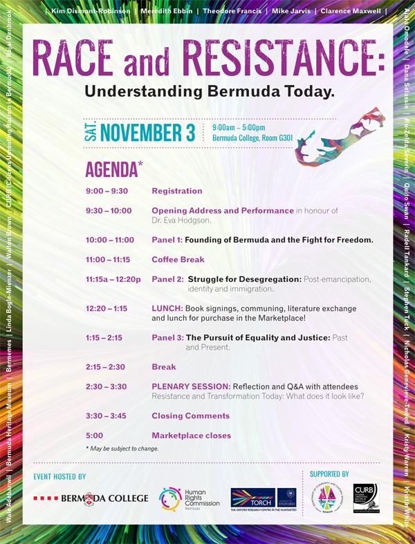 Race and Resistance agenda Bermuda Oct 2018