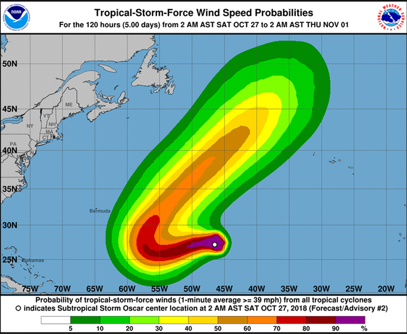 Oscar forecast to become hurricane later Sunday