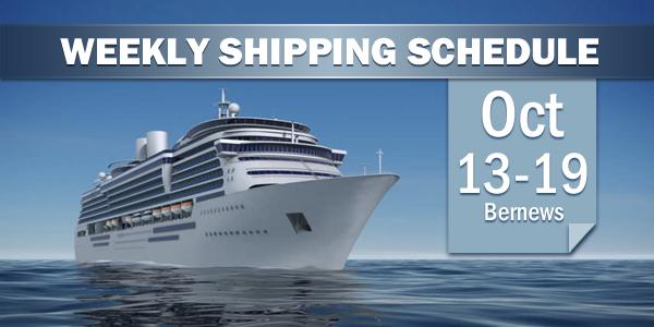 Weekly Shipping Schedule TC Bermuda Oct 13 - 19 2018