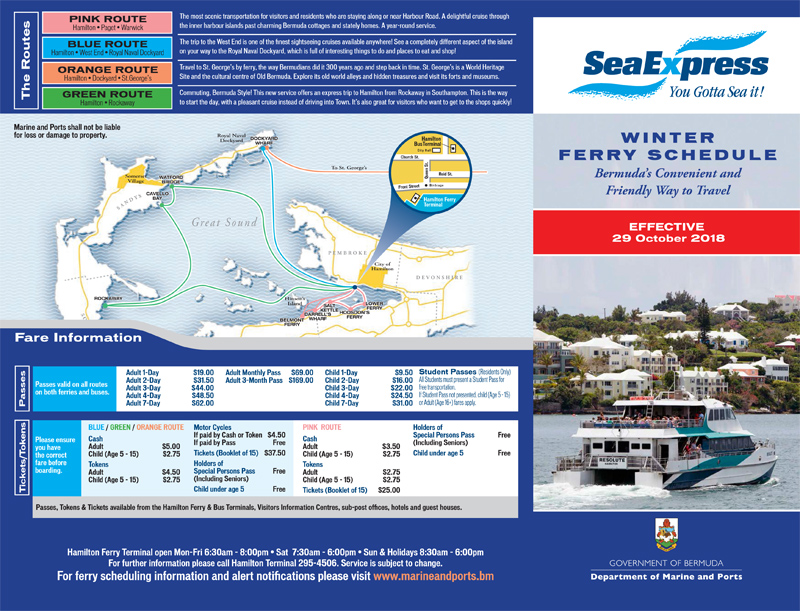 Winter Ferry Schedule To Commence On Oct 29 - Bernews
