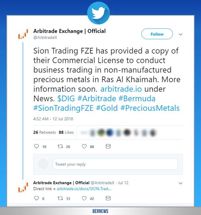 Arbitrade Exchange tweet Bermuda July 2018