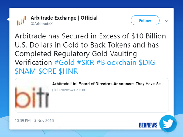 Arbitrade Exchange tweet Bermuda Nov 5 2018
