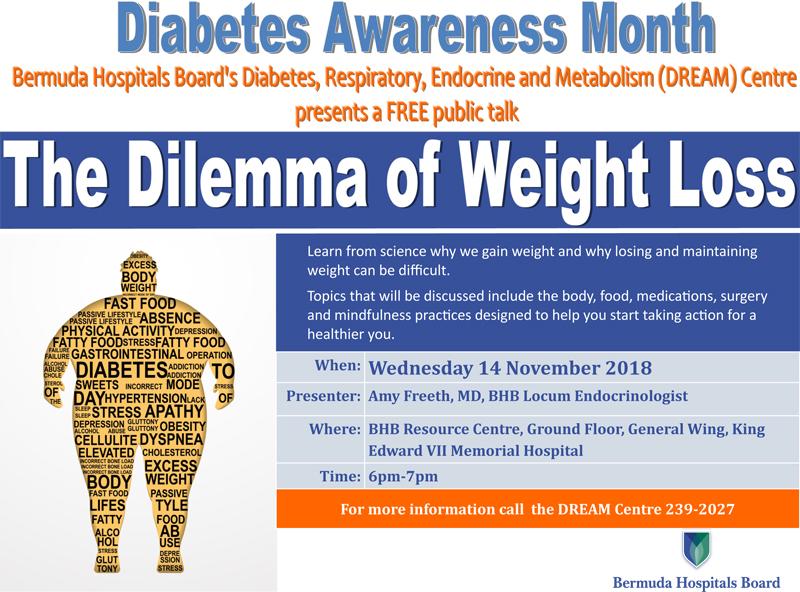 BHB Diabetes Month public talk Bermuda Nov 7 2018