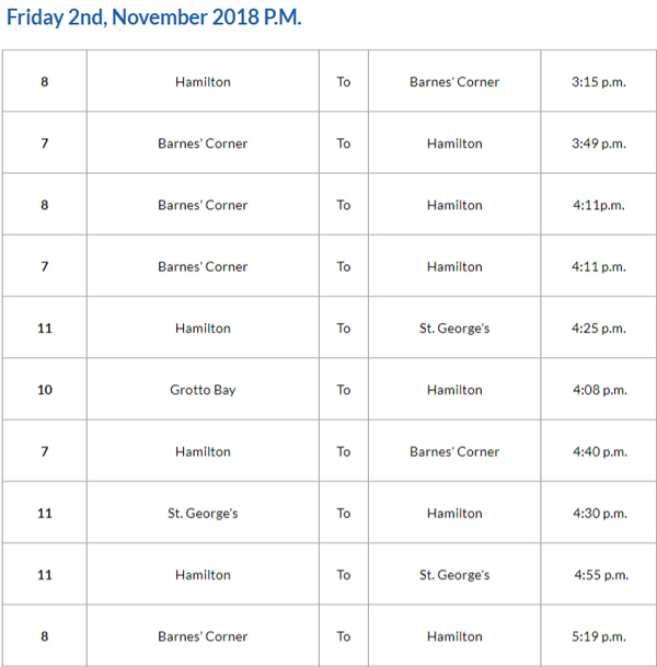 Bus Cancellations PM November 2 2018
