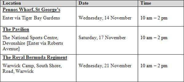 "Department of Health ""Flu Express"" Schedule Nov 8 2018"