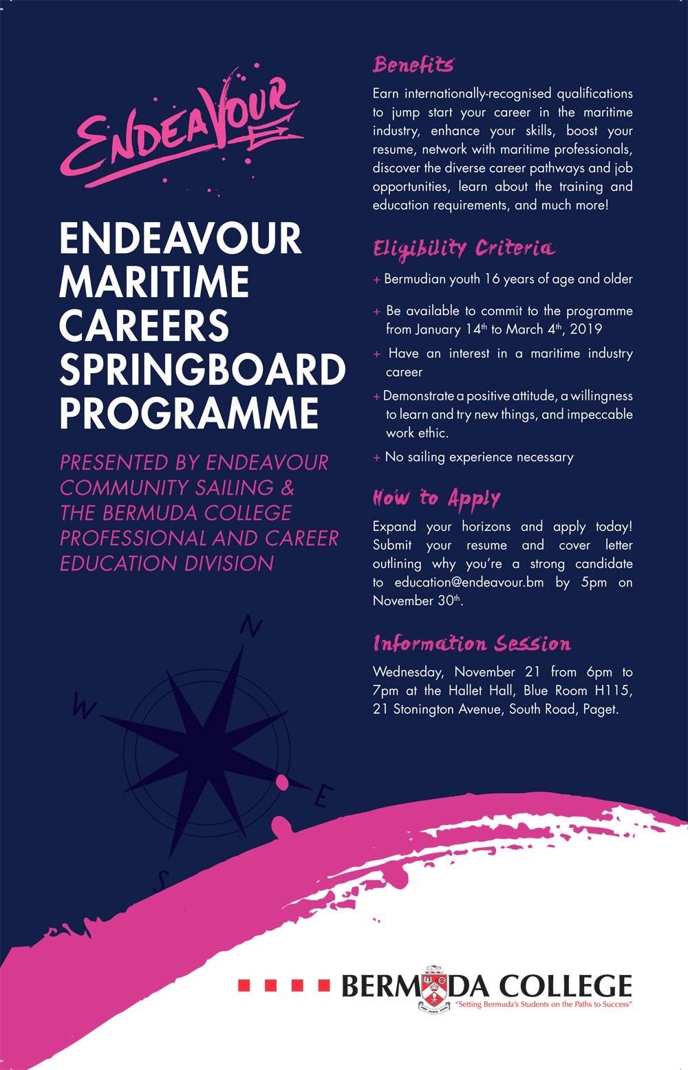 Endeavour Maritime Careers Springboard Programme Bermuda Nov 2018