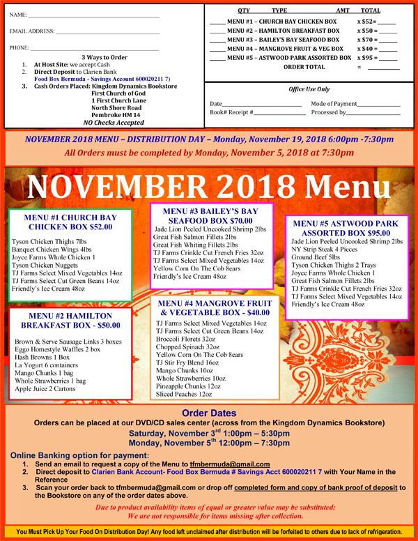 Food Box Bermuda November 2018 menu
