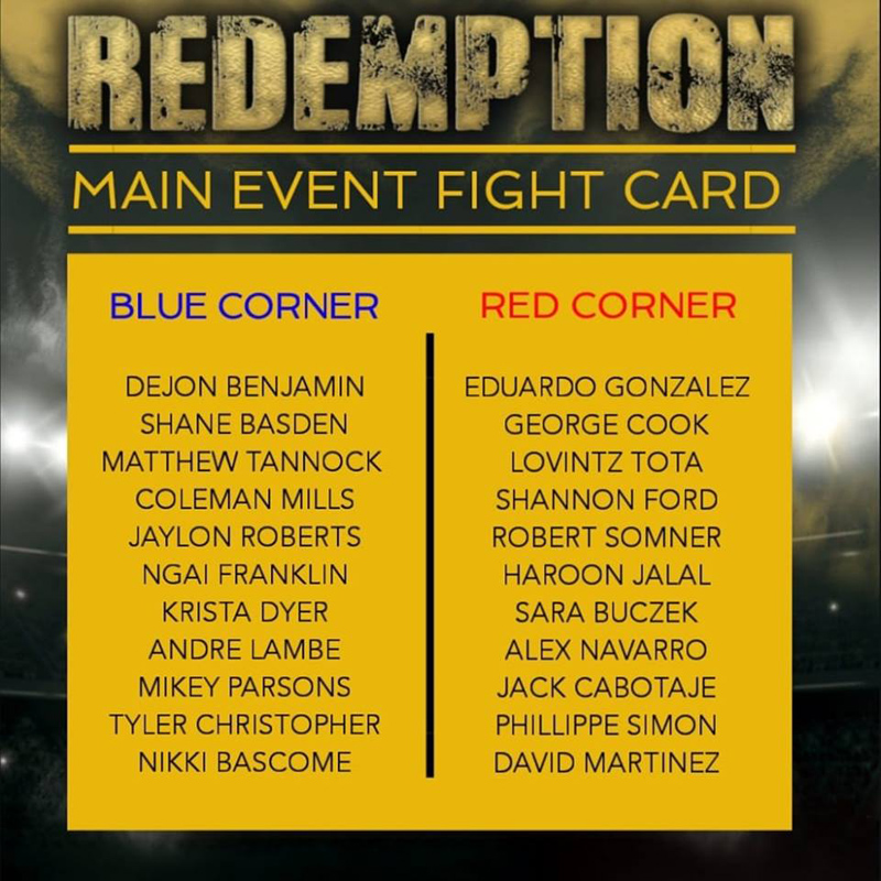 Redemption Main Event Fight Card Bermuda Nov 2018
