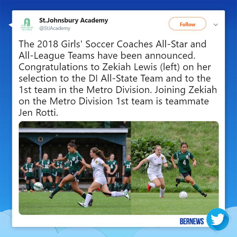 St Johnsbury Academy tweet Bermuda Nov 28 2018