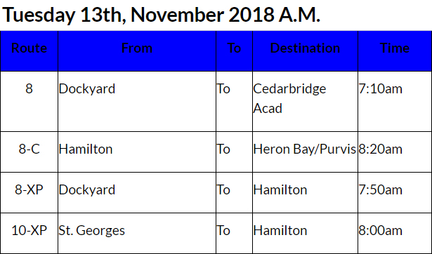 bus cancellations AM Bermuda Nov 13 2018