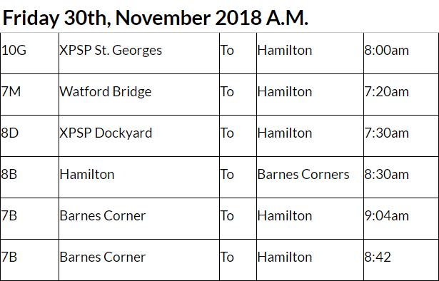 bus cancellations AM Bermuda Nov 30 2018