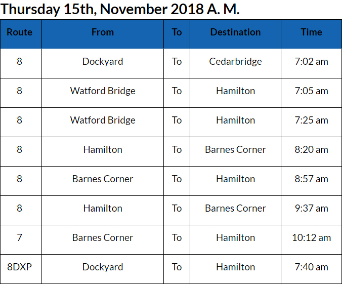 bus cancellations Bermuda Nov 15 2018 AM