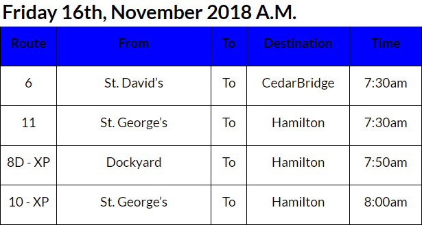 bus cancellations Bermuda Nov 16 2018 AM