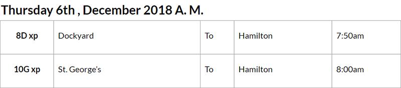 Bus cancellations Bermuda AM Dec 6 2018