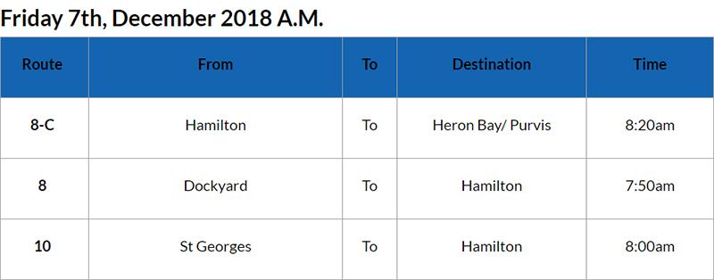 Bus cancellations Bermuda AM Dec 7 2018