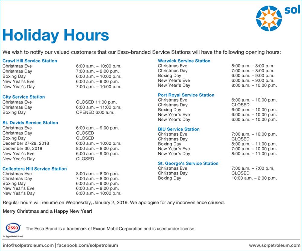 Esso Service Station Holiday Hours Bermuda Dec 19 2018