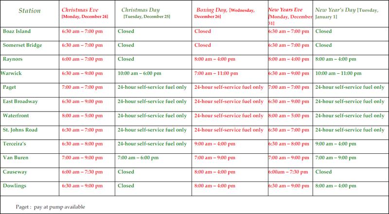 RUBiS Service Station Holiday Hours Bermuda Dec 2018 (1)