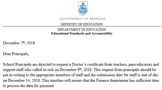 Screenshot of part of the letter Bermuda Dec 10 2018