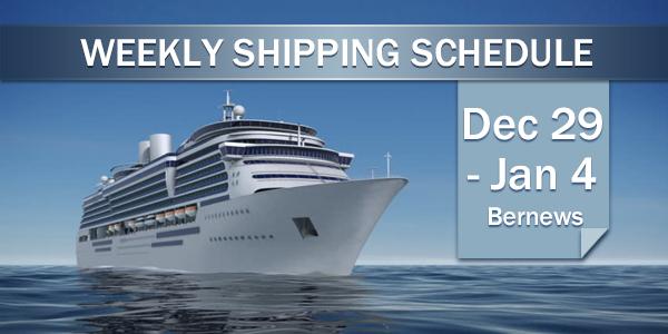 Weekly Shipping Schedule TC Dec 29 - Jan 4 2019