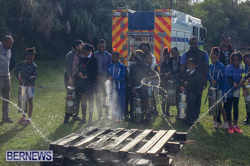 Bermuda Fire and Rescue Service demonstration at Elliot Primary School Careers Day, January 24 2019-53