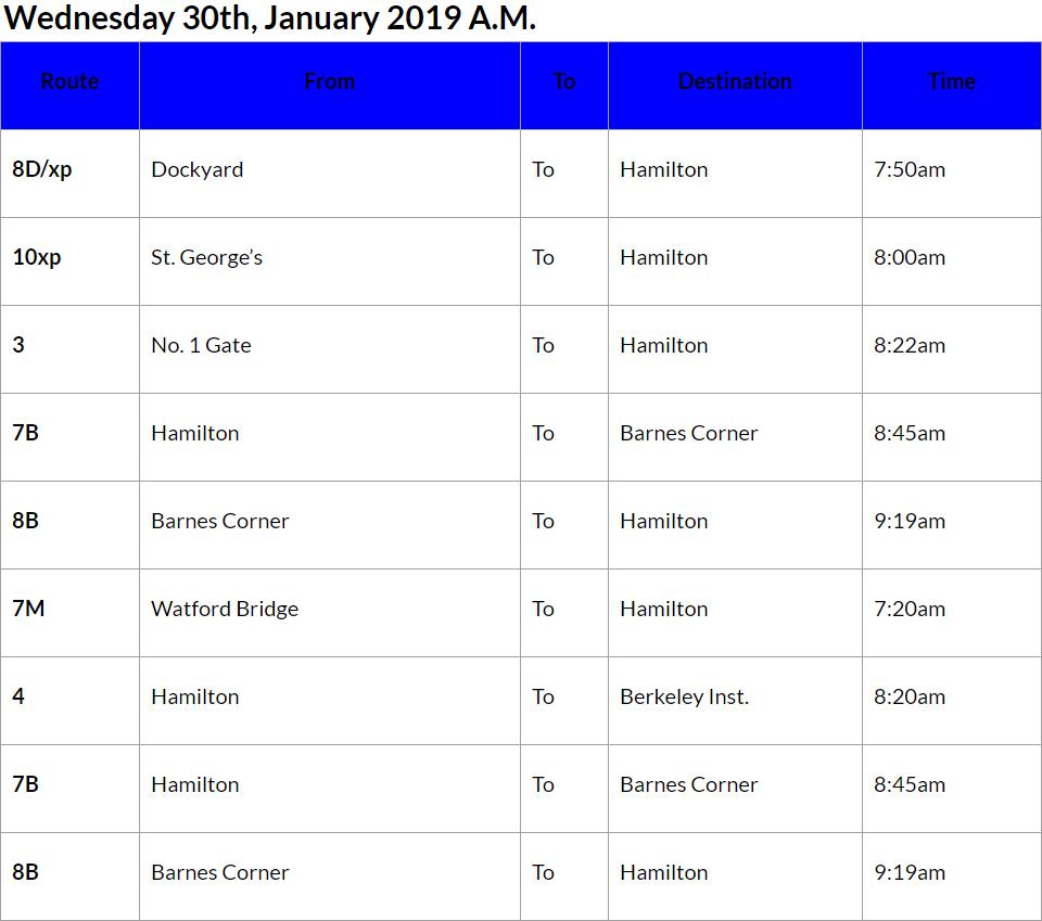 Bus Cancellations AM - Jan 30 2019
