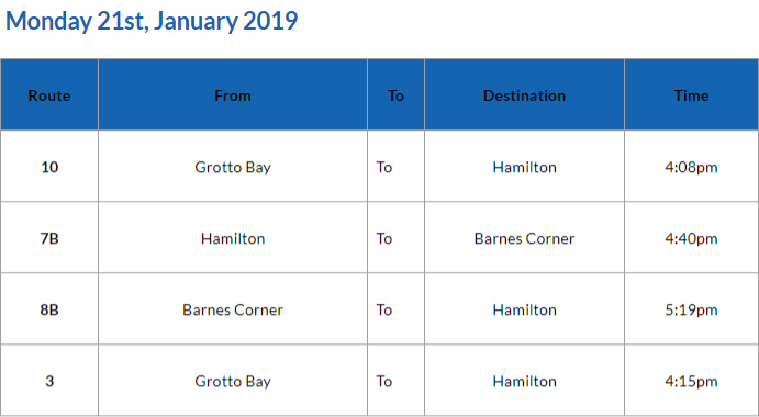 Bus Cancellations PM January 21 2019