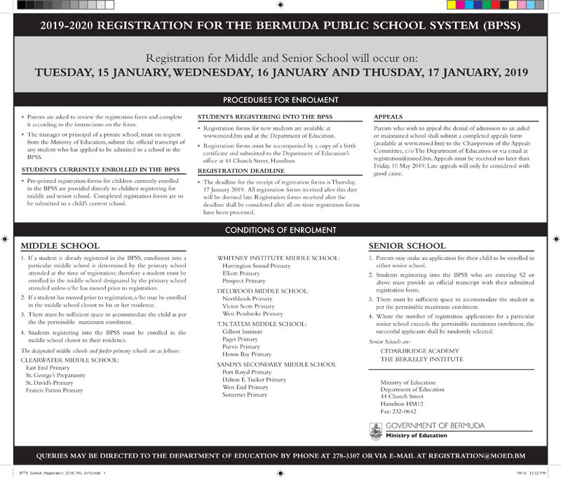 Middle & Senior School Registration Notice Bermuda Jan 2019