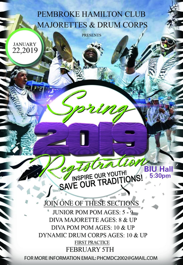 PHC Majorette Registration Bermuda January 2019