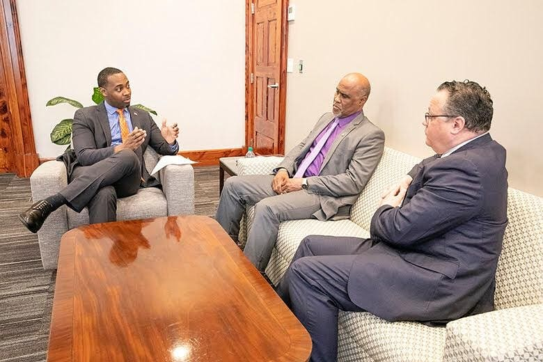 Premier David Burt, Chris Furbert and Rev Nicholas Tweed Bermuda Jan 2019