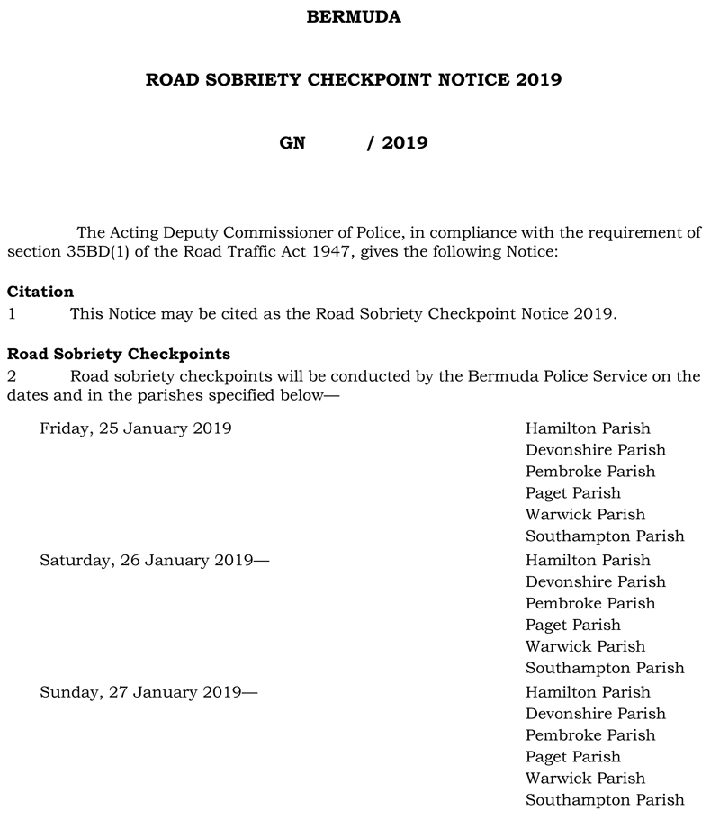 Road Sobriety Checkpoint Notice 2019