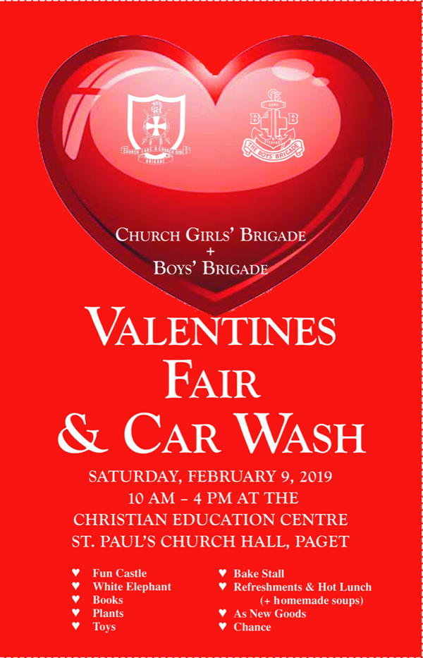 Valentine's Fair and Car Wash Bermuda Jan 30 2019