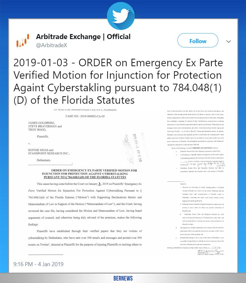 arbitrade tweet Bermuda Jan 4 2019